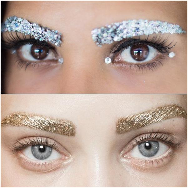 como usar glitter nas sobrancelhas