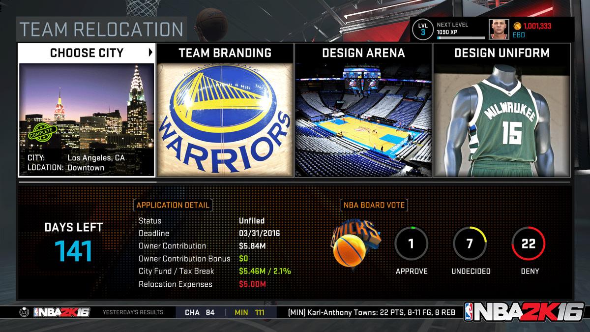 NBA 2k16 MyGM, MyLeague Modes : Team Relocation