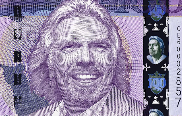 Richard Branson of Virgin Galactic Group Face on the 100 ound Bill