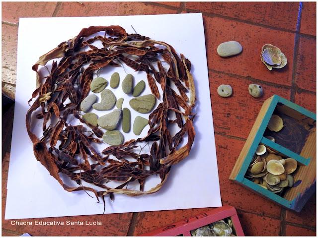 Creando un mandala de piedras y semillas - Chacra Educativa Santa Lucía