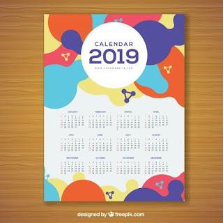 Calendario colorido para 2019