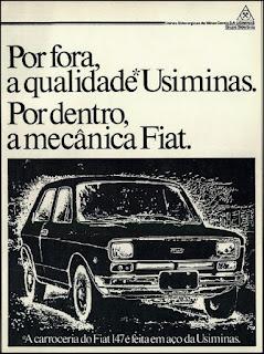 propaganda  Usimininas - 1976, propaganda Fiat 1976, Fiat 76, Fiat automoveis anos 70, Oswaldo Hernandez, Fiat 147 1976,