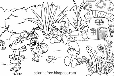 How to illustrate Smurfs pictures Vanity Smurfette Papa Smurf village landscape drawing for kids art