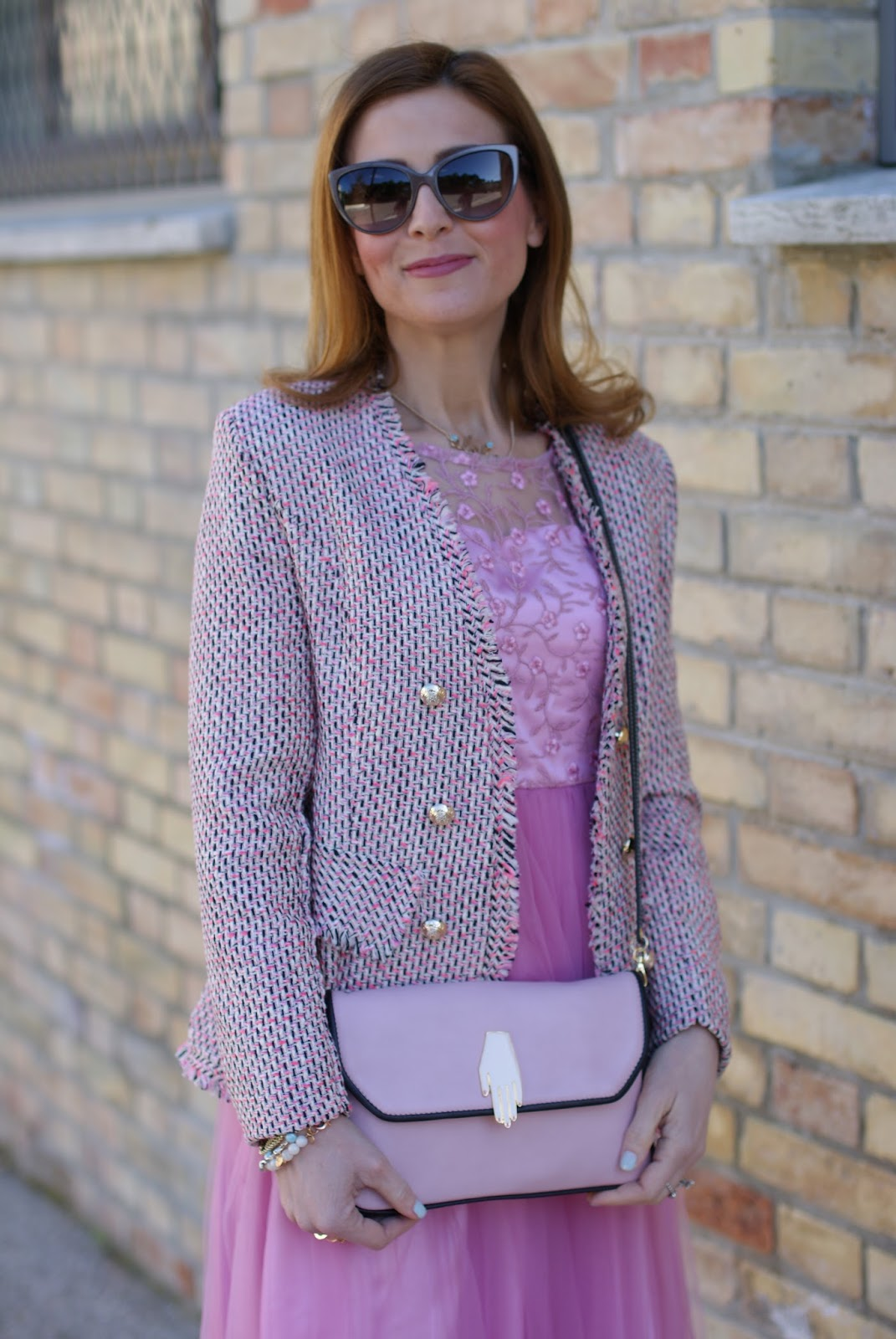 Chanel inspired jacket on a pink midi tulle dress for a romantic outfit on Fashion and Cookies fashion blog, fashion blogger style