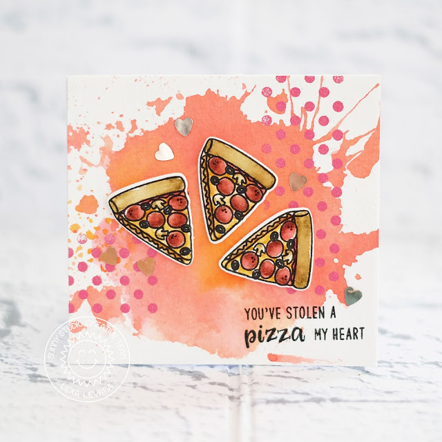Sunny Studio Stamps: Fast Food Fun Background Basics Watercolored Background Pizza Card by Lexa Levana