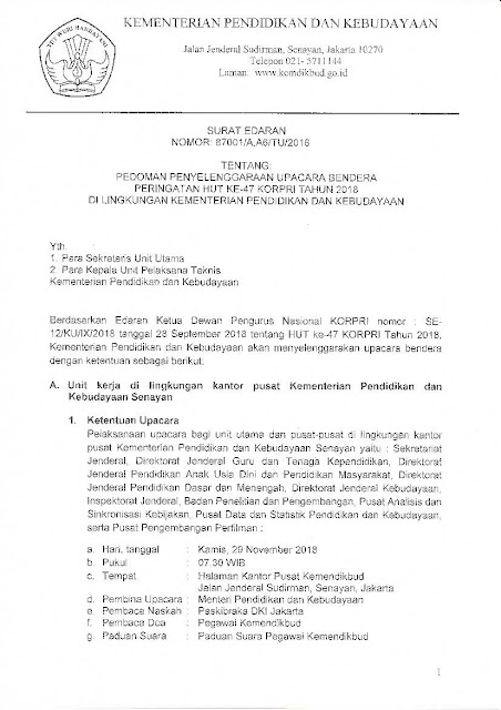 Download Pedoman Penyelenggaraan Upacara Bendera Peringatan HUT KORPRI Ke 47 Tahun 2018