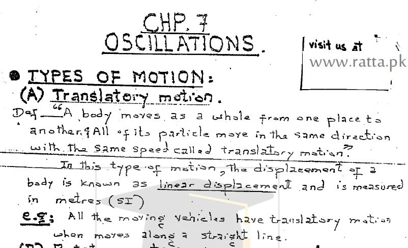 1st Year Physics Chapter 7 Ossilation Notes pdf - 11th class - Ratta pk
