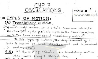 1st Year Physics Chapter 7 Ossilation Notes pdf