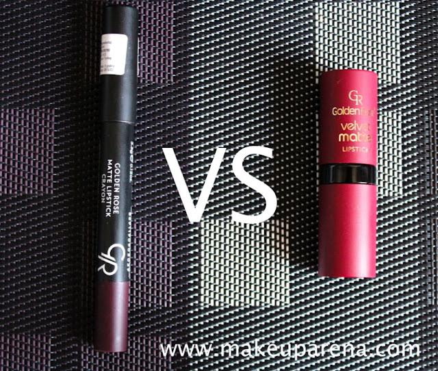 Golden Rose: Matte Lipstick Crayon VS Velvet Matte Lipstick