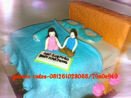 cake tema tempat tidur, bed cake