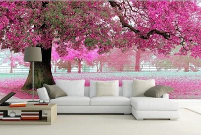 wallpaper dinding 3d motif bunga sakura