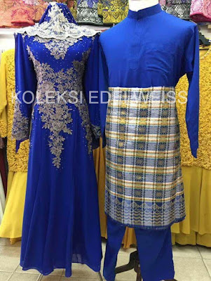 Set Baju Pengantin Royal Blue