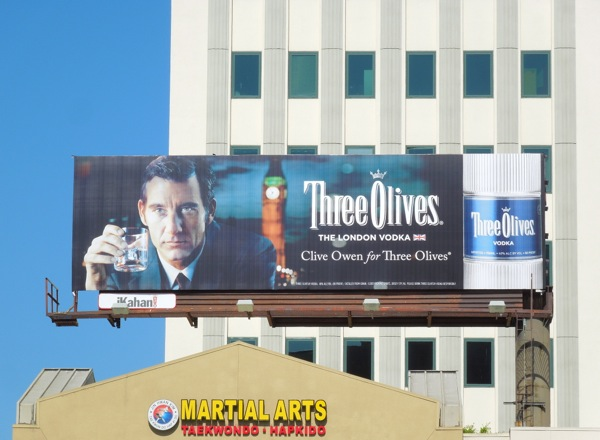 Clive Owen Three Olives Vodka billboard