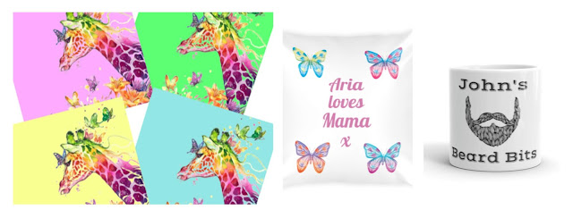 Collage featuring giraffe coasters, butterfly cushion and ceramic pot.