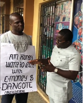 Hungry Man Who Wants To Dine With E-money And Dangote Receives N20k And Dangote Products From Kokun Foundation