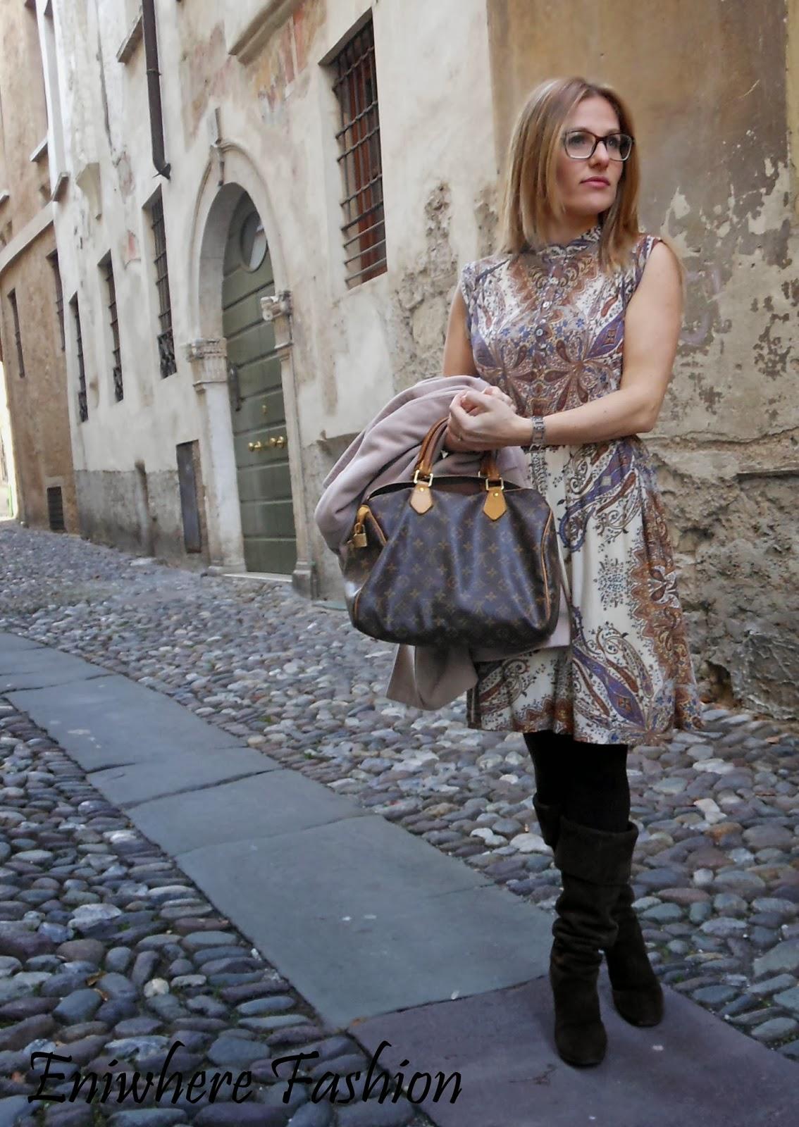 Eniwhere Fashion cappotto cammello floral print dress speedy LV