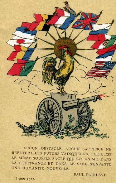 Carte postale: Belle représentation patriotique d'un coq juché sur un 75