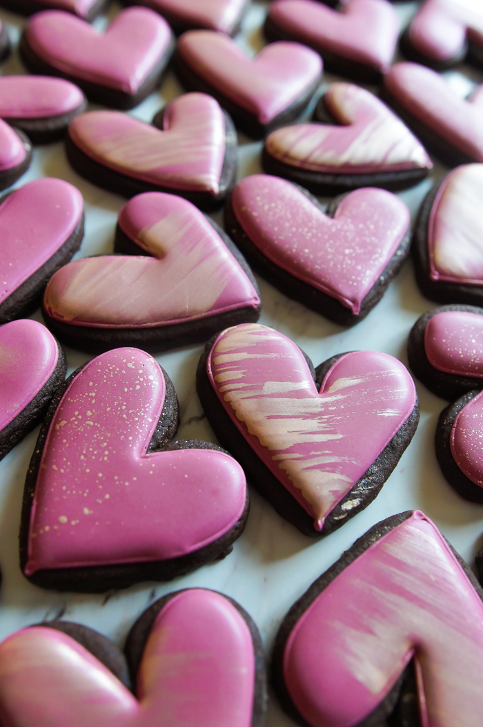 Deep Lilac and Rose Gold Hearts + Chocolate Hazelnut Cut-Out Cookies