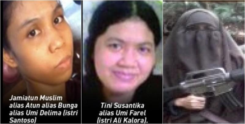 Jumiatun Muslimayatun (istri Santoso), Tini Susanti (istri Ali Kalora) dan Nurmi Usman (istri Basri)