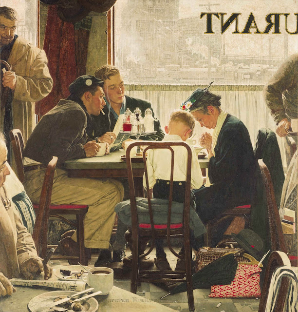 Saying Grace by Norman Rockwell (November 24, 1951)