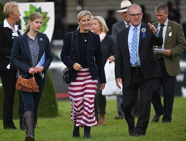 The Countess of Wessex wore a new striped wool and cashmere-blend midi skirt by Gabriela Hearst. Lady Louise Windsor