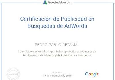Certificación Google Adwords Pedro Pablo Retamal
