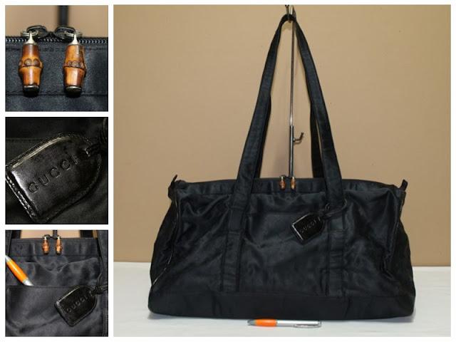 JUAL TAS GUCCI BLACK NYLON TRAVEL BAG AUTHENTIC ORIGINAL GC - 419 Rp.  2.750.000 04162f22c0