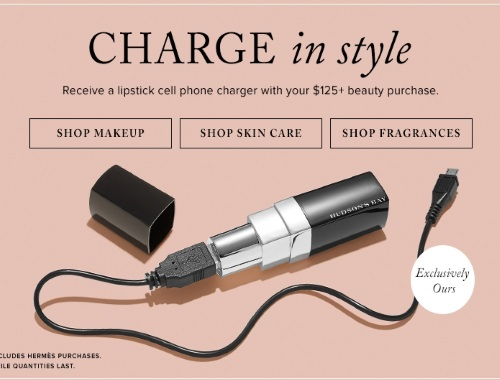 Hudson's Bay Free Lipstick Cell Phone Charger