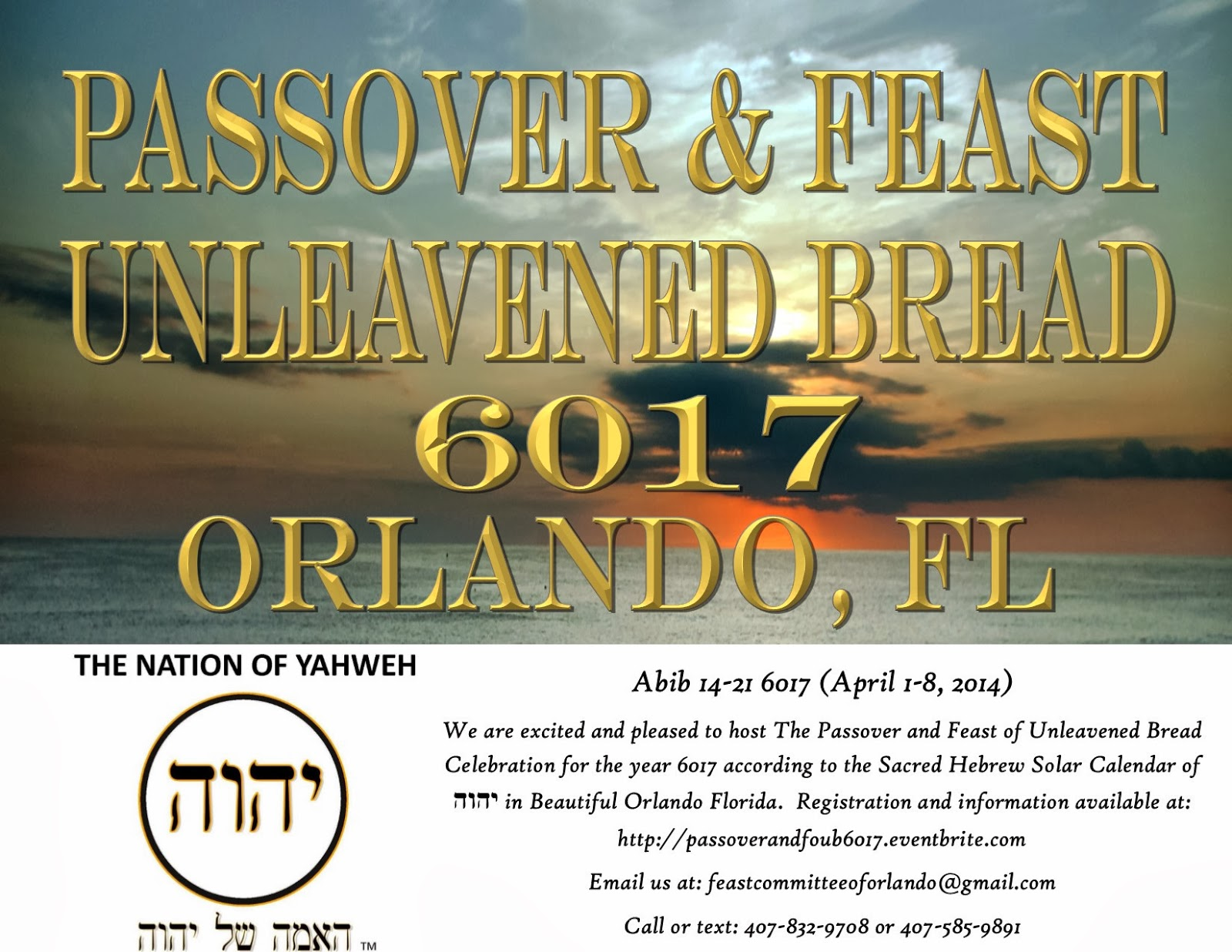 Passover & Feast of Unleavened Bread 6017 Orlando, FL