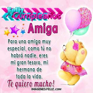 Feliz Cumpleaños hermana de la vida. Preciosa tarjeta con mensaje, osito y globos rosa