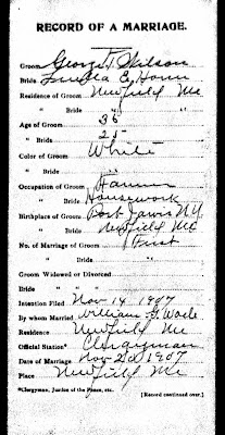 George T. Wilson, Maine Marriage Records, 1713-1922 Ancestry Database  Front Page