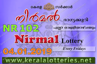 Kerala Lottery Results 04-01-2019 Nirmal NR-102 Lottery Result