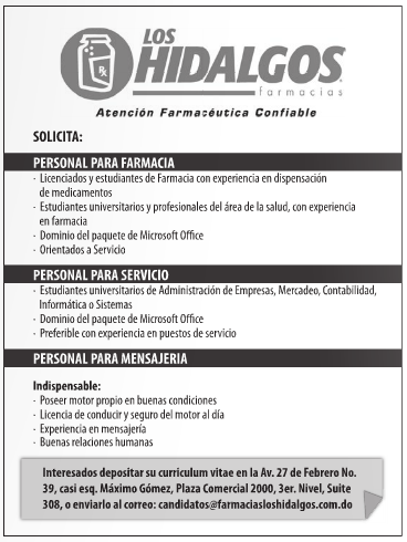 Farmacia Los Hidalgos Tiene 3 Vacantes Envia Tu Cv Ya Ayuda