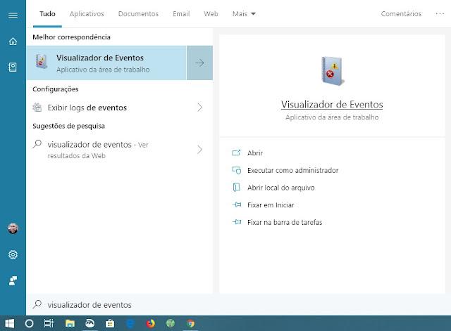 menu-iniciar-digitar-visualizador-de-eventos