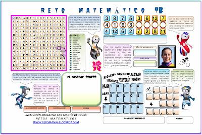 Retos Matemáticos, Problemas Matemáticos, Problemas de lógica, Problemas de Ingenio, Juegos Olímpicos, Sopa de Letras, Criptoaritmética, Alfamética, Criptosumas, Adivina el número, Descubre el número, Descubre el Personaje, Descubre el Mensaje
