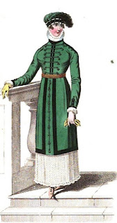Morning walking dress   from La Belle Assemblée (Mar 1812)