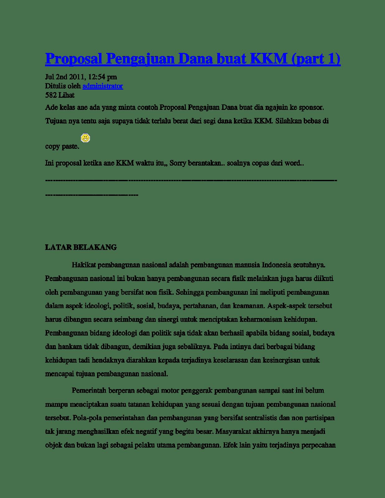 contoh proposal pengajuan sponsor - wood scribd indo