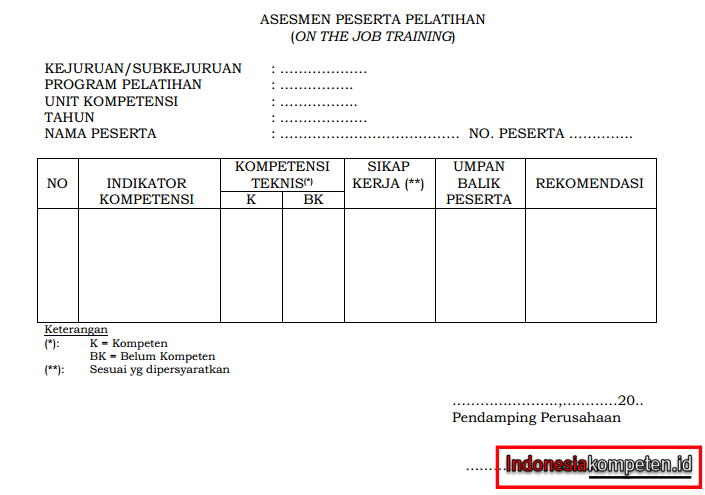 Contoh Formulir Asesmen Peserta Pelatihan (On the Job Training)