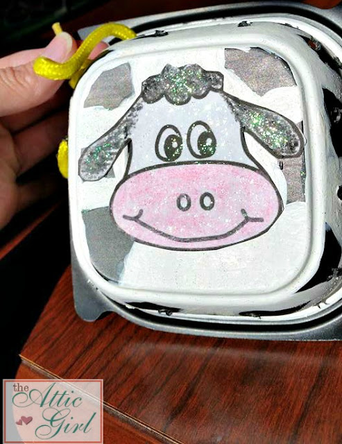 DIY Lacing Card, cow lacing card, book extension activity, repurpose plastic