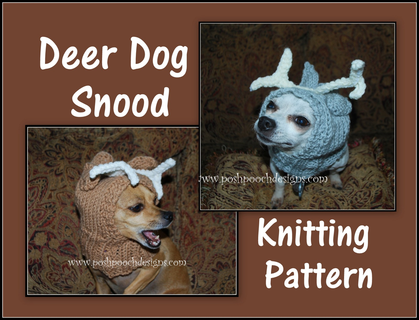 Knitting Pattern Dog Snood : Posh Pooch Designs Dog Clothes: New pattern Release - Deer Dog Snood Knitting...