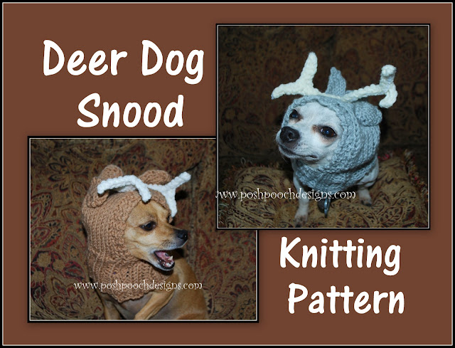 Dog Snood Knitting Pattern : Posh Pooch Designs Dog Clothes: New pattern Release - Deer Dog Snood Knitting...