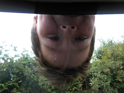 Upside down child's face, viewed through a car window
