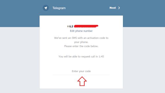 masukkan kode verifikasi yang dikirim via sms