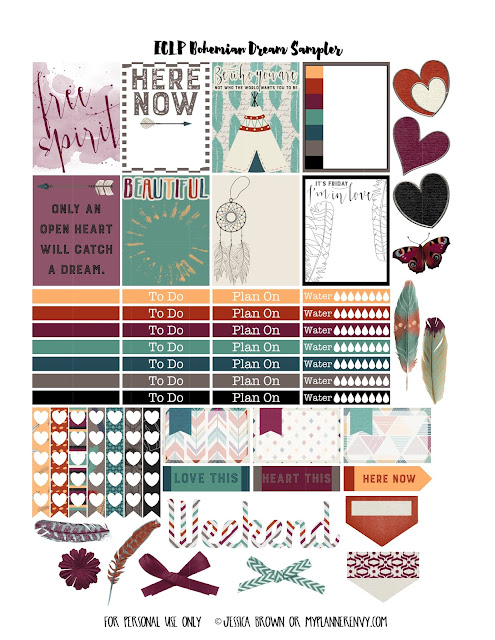 Free Printable Bohemian Dreams Sampler for the Vertical Erin Condren on myplannerenvy.com