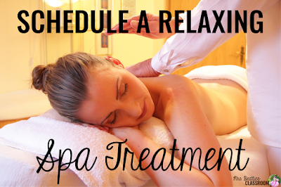 "Photo of spa treatment with text, ""Schedule a relaxing spa treatment."""
