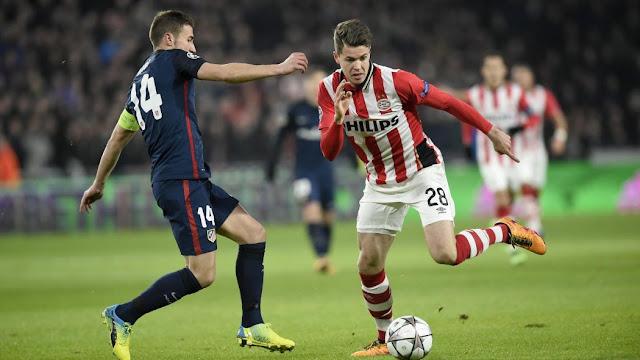 Gabi et Marco Van Ginkel lors du match aller PSV - Atletico Madrid