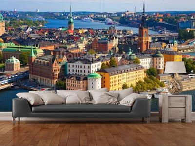 stockholm tapet utsikt vardagsrum fototapet stockholm stad 3d