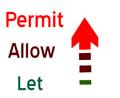 What is the difference among permit, allow and let ?