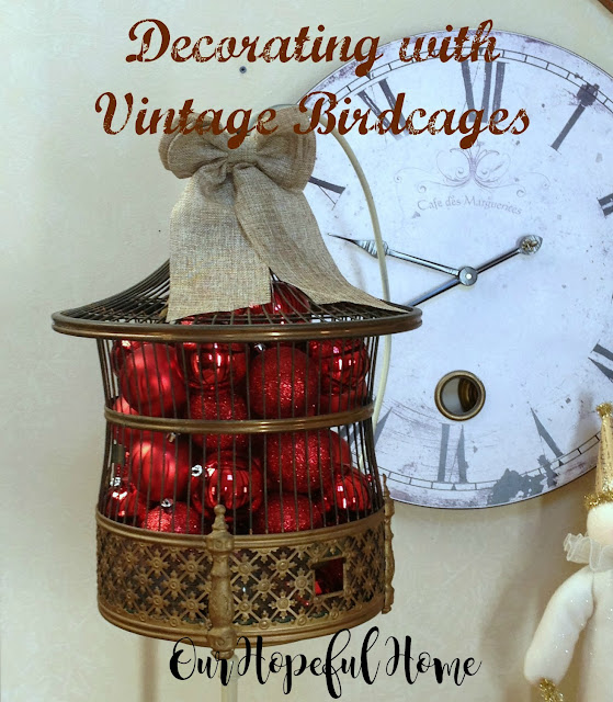 vintage brass bird cage Christmas decor