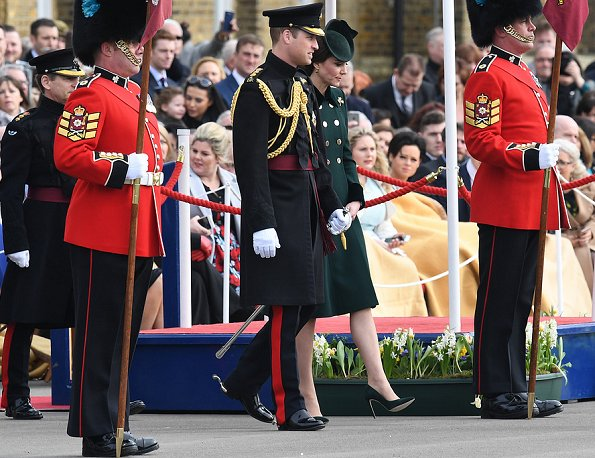 Prince William and Duchess Catherine attend Irish Guards St Patrick's Day.  Kate Middleton wore Catherine Walker Military coat for the Irish Guards ceremony